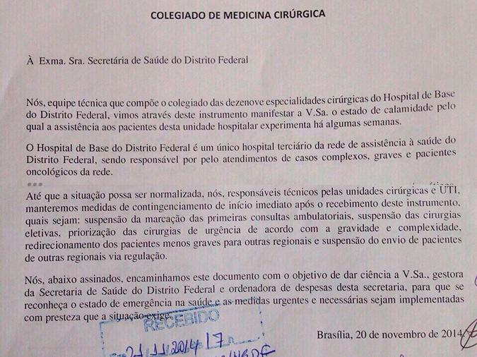 Colegiado de Medicina Cirúrgica entrega abaixo assinado à SES-DF em que alertam para o perigo da falta de remédios no HBDF