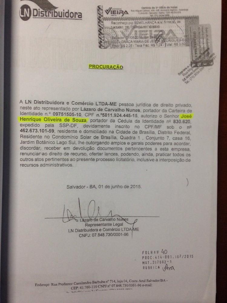 Procuração da LN Distribuidora dando poderes a Henrique Oliveira